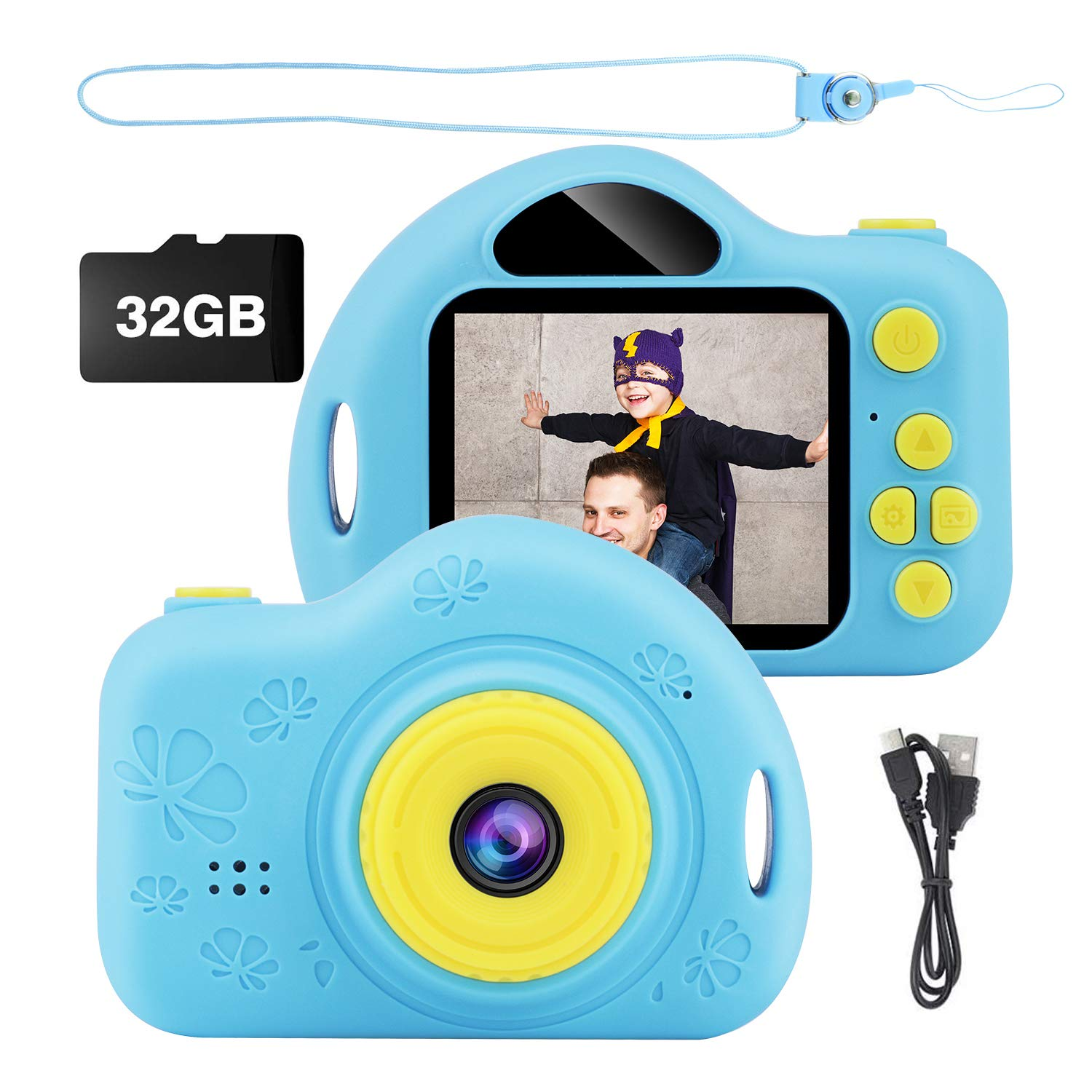 Kids Camera, Digital Video Camera Children Creative DIY Camcorder with Rechargeable Battery Birthday / Christmas / New Year Toy Gifts for 3 4 5 6 7 8 9 10 Year Old Boys Girls with 32GB SD Card - Blue by Trofoty