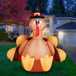 Holidayana 6ft Inflatable Thanksgiving Turkey with Pilgrim Hat Inflatable Yard Decoration with Built-in Bulbs, Tie-Down Points, and Built-in Fan