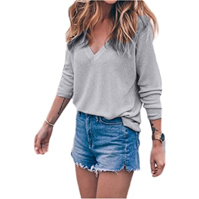 Women s Fashion Casual Long Sleeve Knit Tops V-Neck Pullover T Shirt Cute Loose  Sweater Jumper blouse 14dfe018e