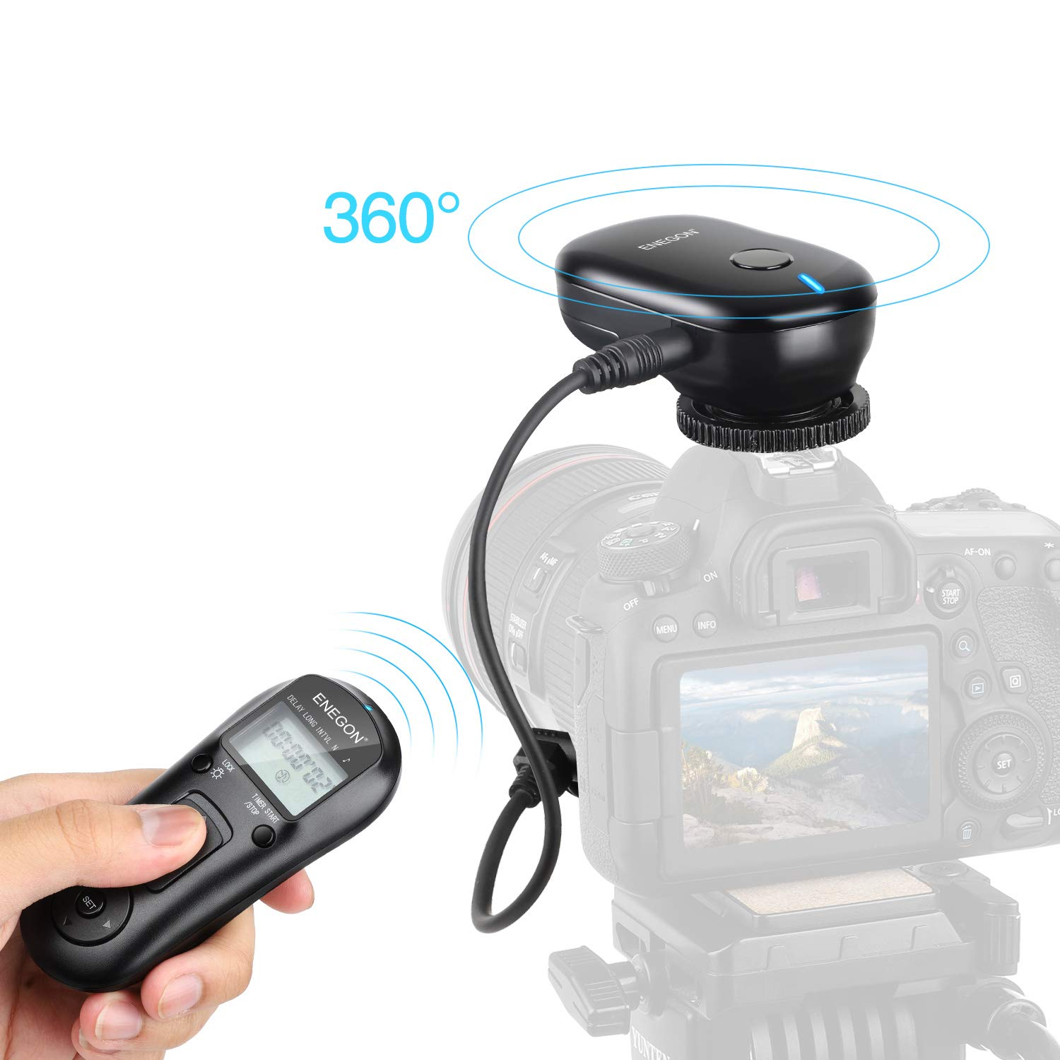 ENEGON Wireless Remote Shutter Release Control Timer with Cord for Canon EOS Rebel T6 T7 80D 70D 60D 60Da 77D T7i T6i T6s SL2 SL1 T5 T3 T5i T4i T3i T2i EOS RP R M6 M5 and More Canon Cameras by ENEGON