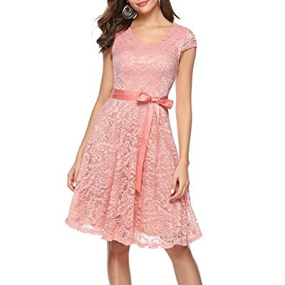 BeryLove Women's Floral Lace Short Bridesmaid Dress Cap Sleeve Cocktail Party Dress: Clothing