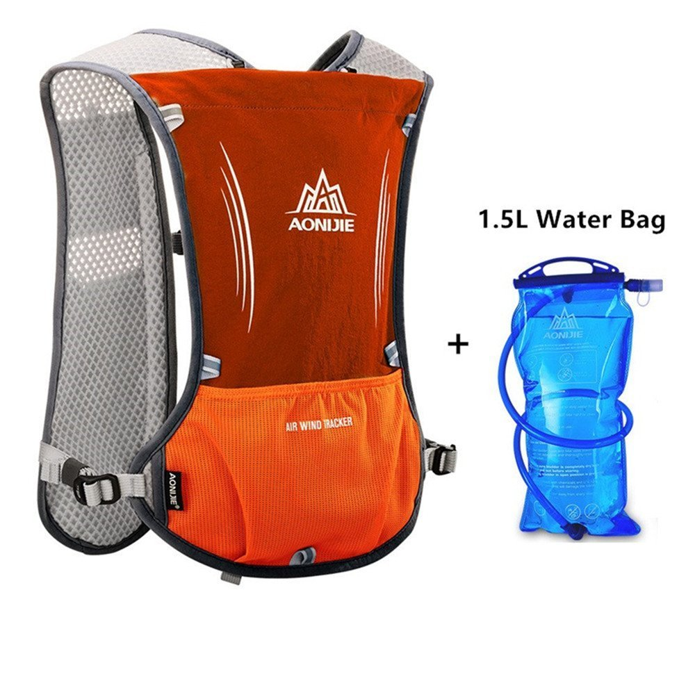 Zulaniu 5L Marathoner Running Race Hydration Vest Hydration Pack Backpack with 1.5L/50oz Bladder Reservoir (Orange)