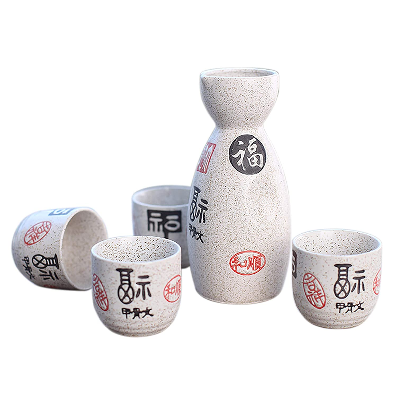 Panbado® 5 Piece Japanese Sake Set Hand Painted Porcelain Pottery Traditional Ceramic Crafts Wine Cups Sake Pot