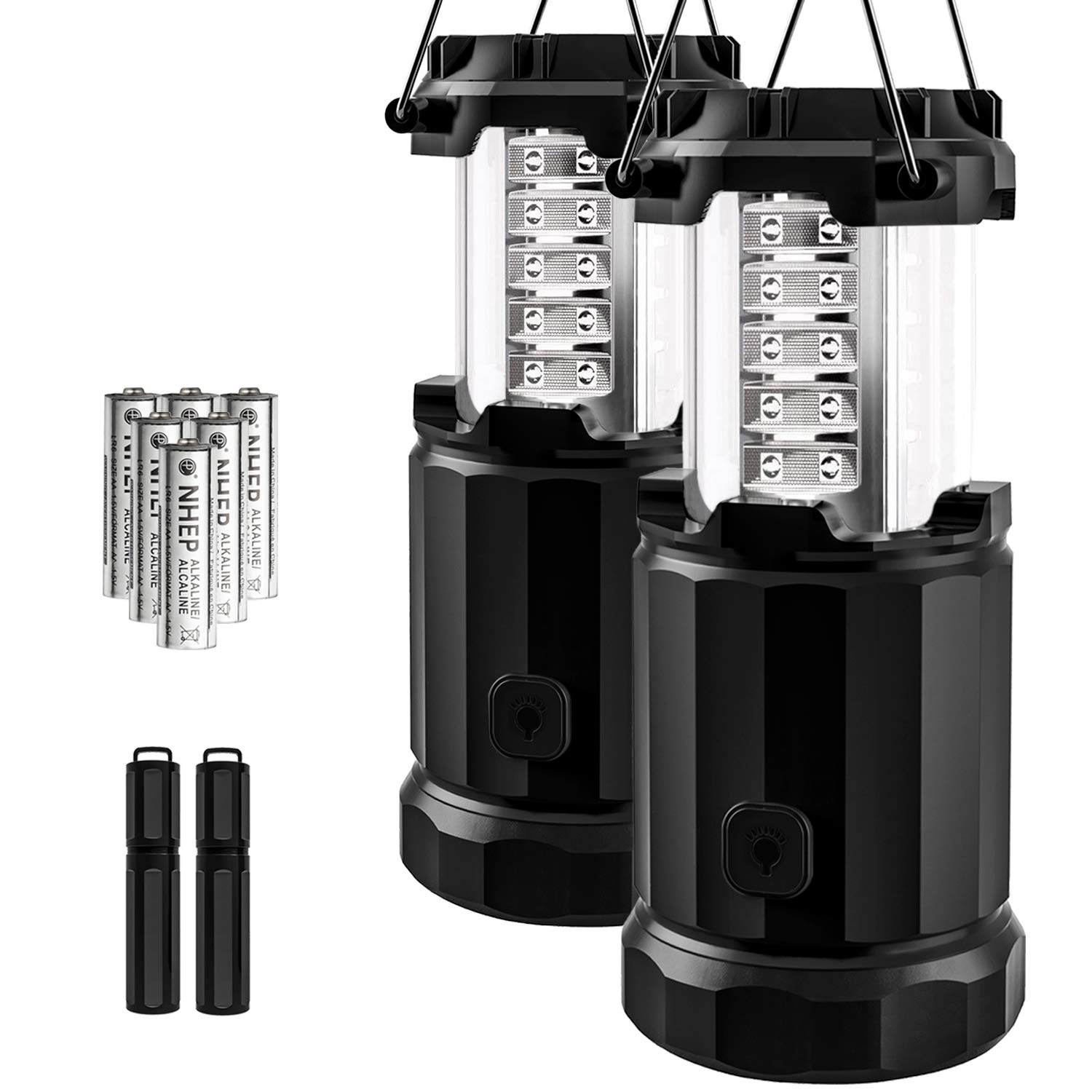 Etekcity 2 Pack Portable LED Camping Lantern Flashlights 6 AA Batteries - Survival Kit Emergency, Hurricane, Outage (Black, Collapsible) (CL30) by Etekcity
