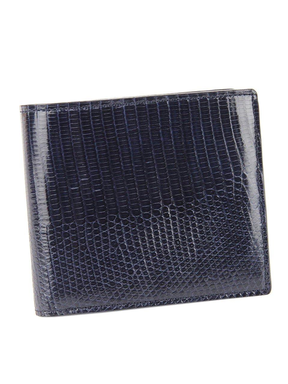 ペッレモルビダ 二つ折り財布 本革 バルカ リザードレザー メンズ LI004 B01N8T17SB ネイビー
