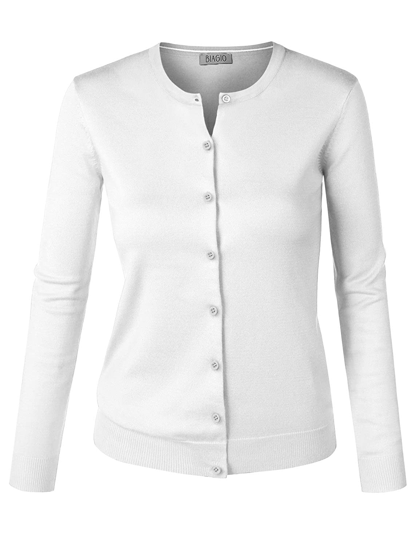 Biadani women button down long sleeve crewneck soft knit cardigan sweater  white medium at amazon womens bac7cd93f