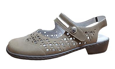 Damen Slingpumps Beige Größe 37 bis 42 Aus Leder von Größe 37-42 in Weite-H, Damen Größen:37, Farben:Beige