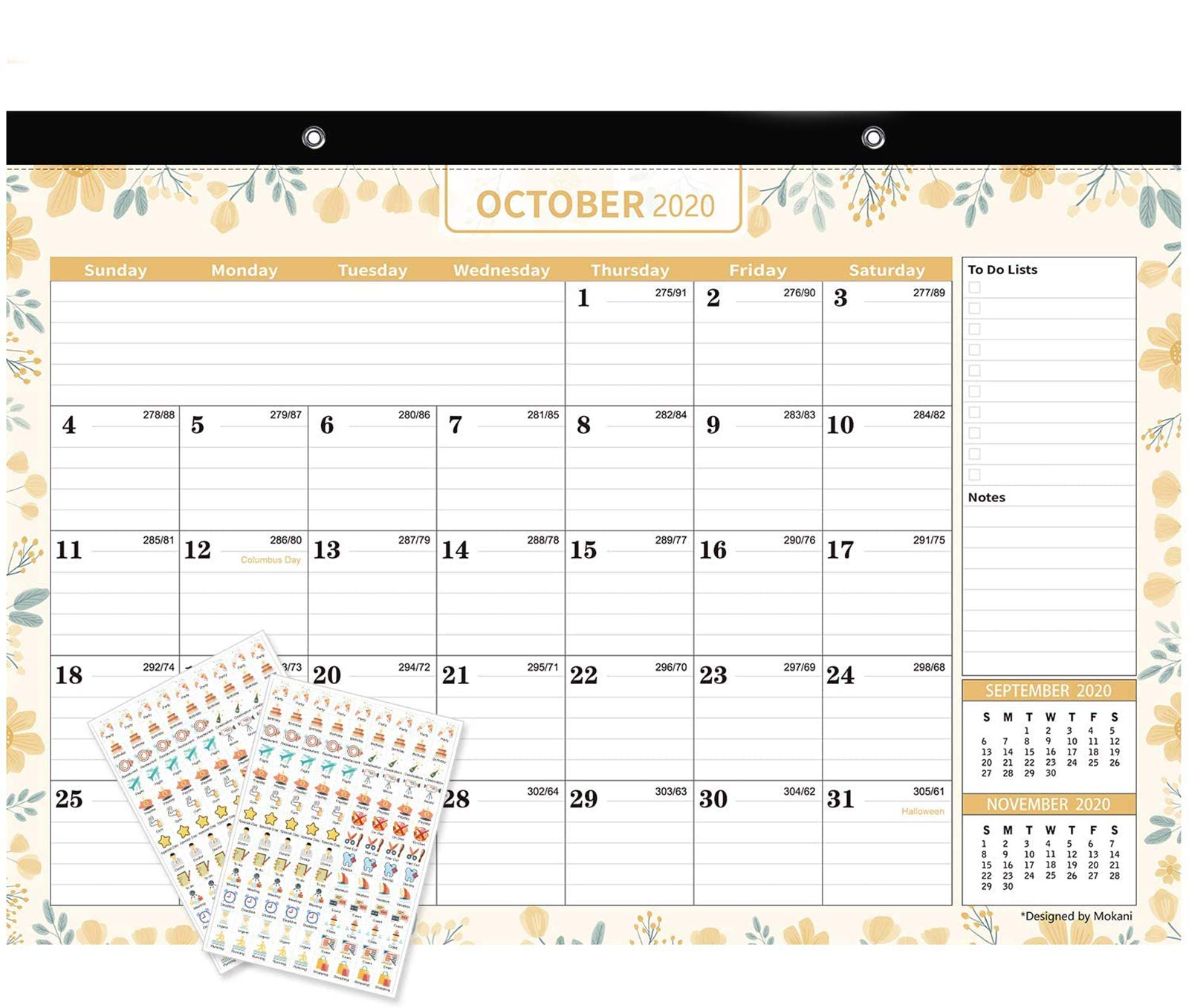 "Mokani Desk Calendar Jan. 2021 - Jun. 2022, Large Monthly Wall Calendar with Plastic Cover: 17""x12"", 18 Months Academic Year Desk Pad Calendars with Planner Stickers"