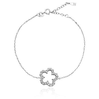 SOFIA MILANI Damen-Armband Blume   Blumen 925 Sterling-Silber Verstellbar  mit 25 Zirkonia 2e26615a02