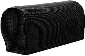 Spandex Stretch Sofa Armrest Covers Set of 2 (Black)