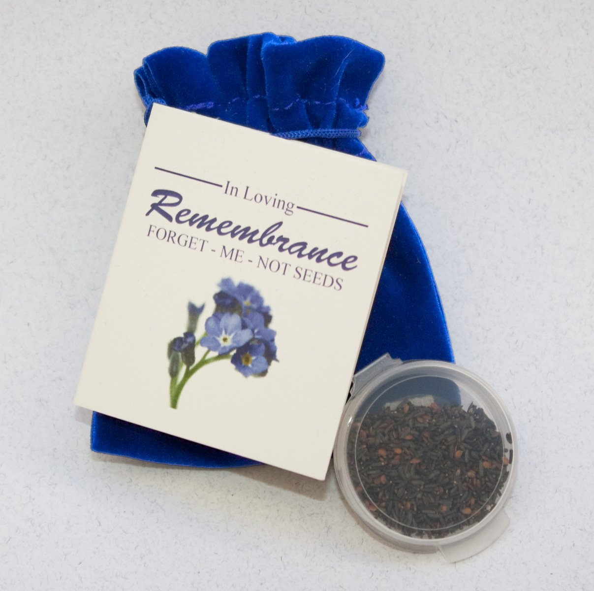 Forget-me-not seed Packets in Velvet Pouches - Funeral Favor or Funeral Gift - Personalized Plantable Celebration of Life (100)