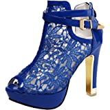 Getmorebeauty Women's Platform Pumps with Pretty Lace Flowers Open Toes High Heels Ankle Boots