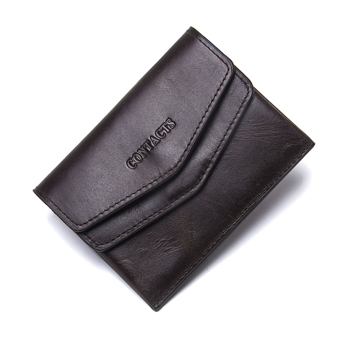 Contacts Genuine Leather Mini Slim ID Card Coin Holder Money Clip Wallet
