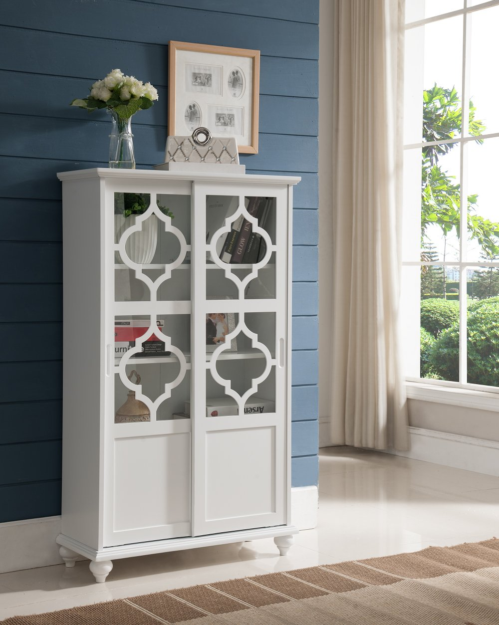 Kings Brand Furniture- Halswelle 2-Door White Curio Bookcase Cabinet with Glass Doors by Kings Brand Furniture