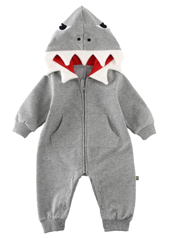 Baby Boys Girls Shark Hooded Romper Jumpsuit 3D Cartoon One-Piece Zipper Climb Clothes Playsuit