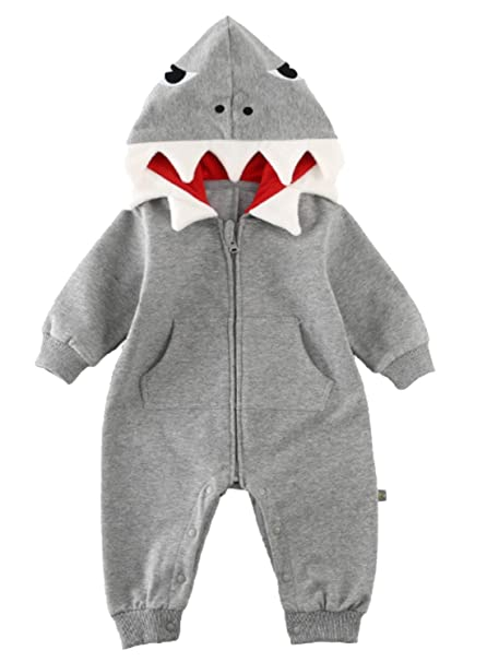 e7de75634c5b Amazon.com  Baby Boys Girls 3D Cartoon Shark Hooded Romper Jumpsuit  One-Piece Zipper Climb Clothes Playsuit  Clothing