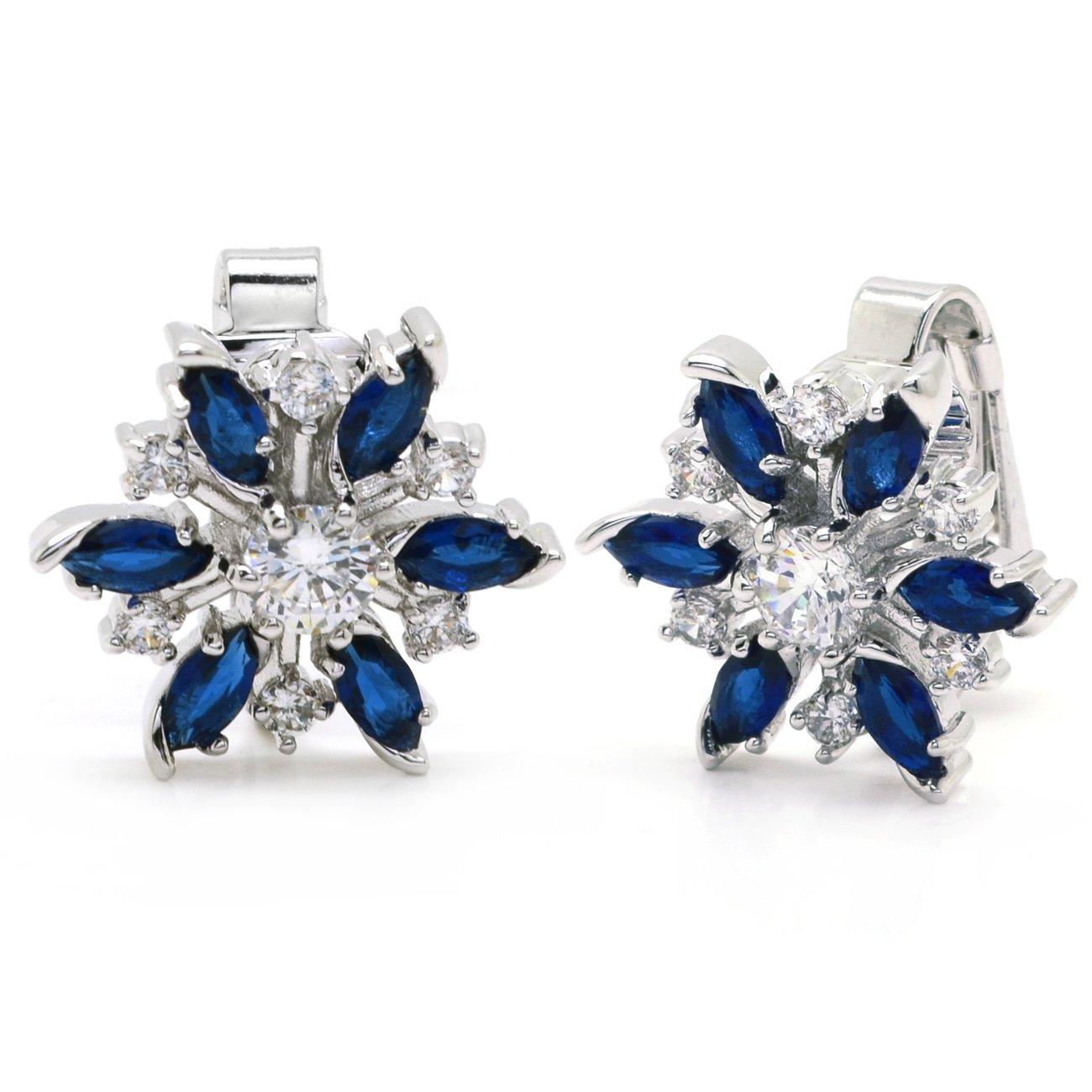 Blue Snowflake Clip On Earrings Holiday Christmas CZ Women Fashion