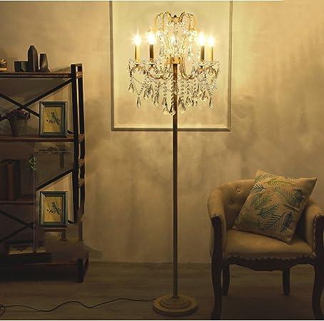 Lámparas de pie Villa de Estilo Europeo Princesa habitación Retro Sala de Estar Dormitorio Cama de Cristal KUN Peng Shop: Amazon.es: Hogar