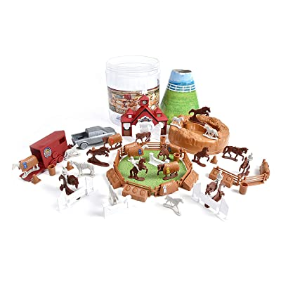 Horse Farm Bucket – 71 Assorted Horses Toy Play Set For Kids, Boys and Girls | Plastic Cake Toppers Figures with Storage Container: Toys & Games