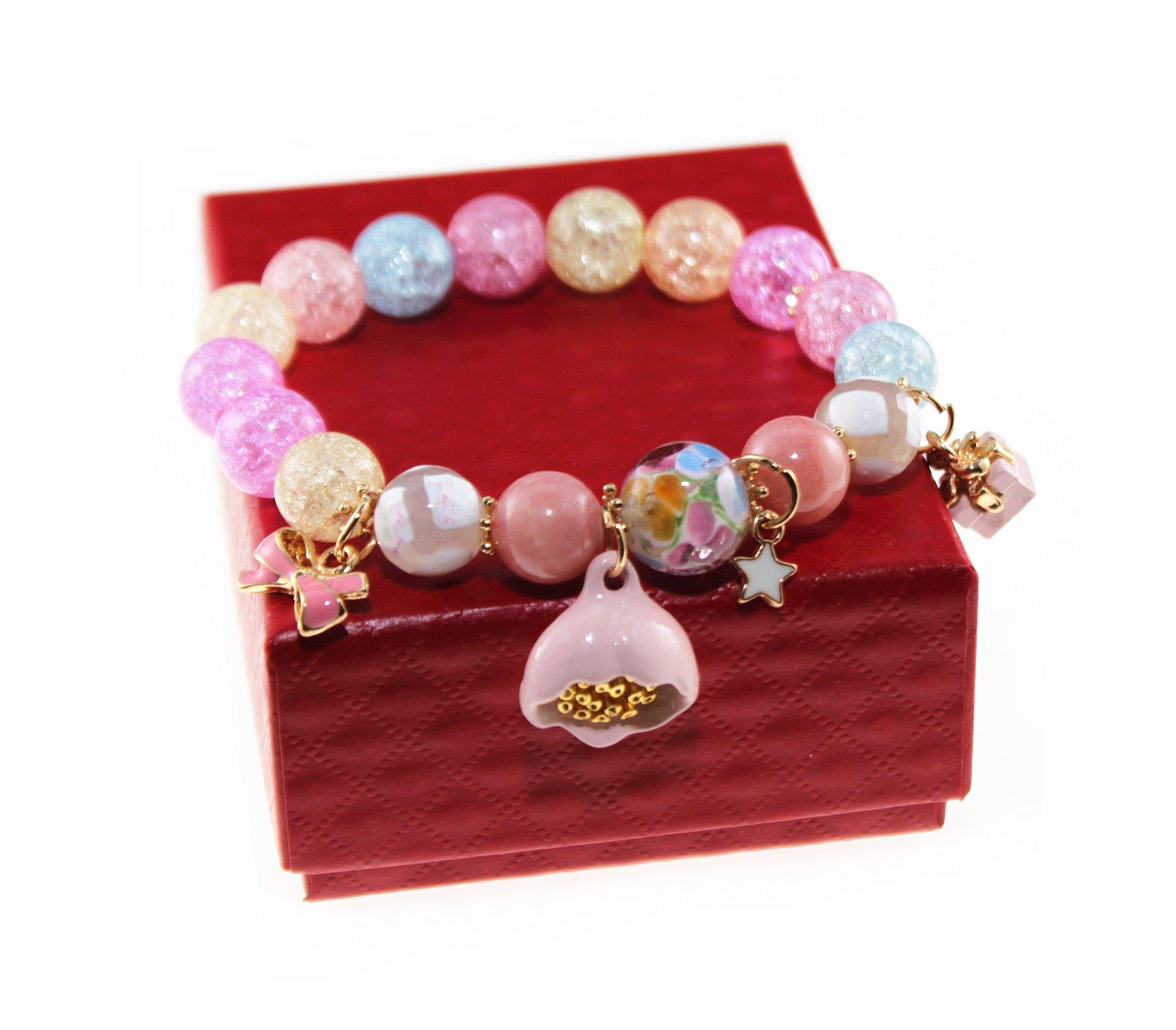 Ice Crack Korean Style Crystal & Colored Glaze Charm Bracelet with Lotus Pendant (Colorful)