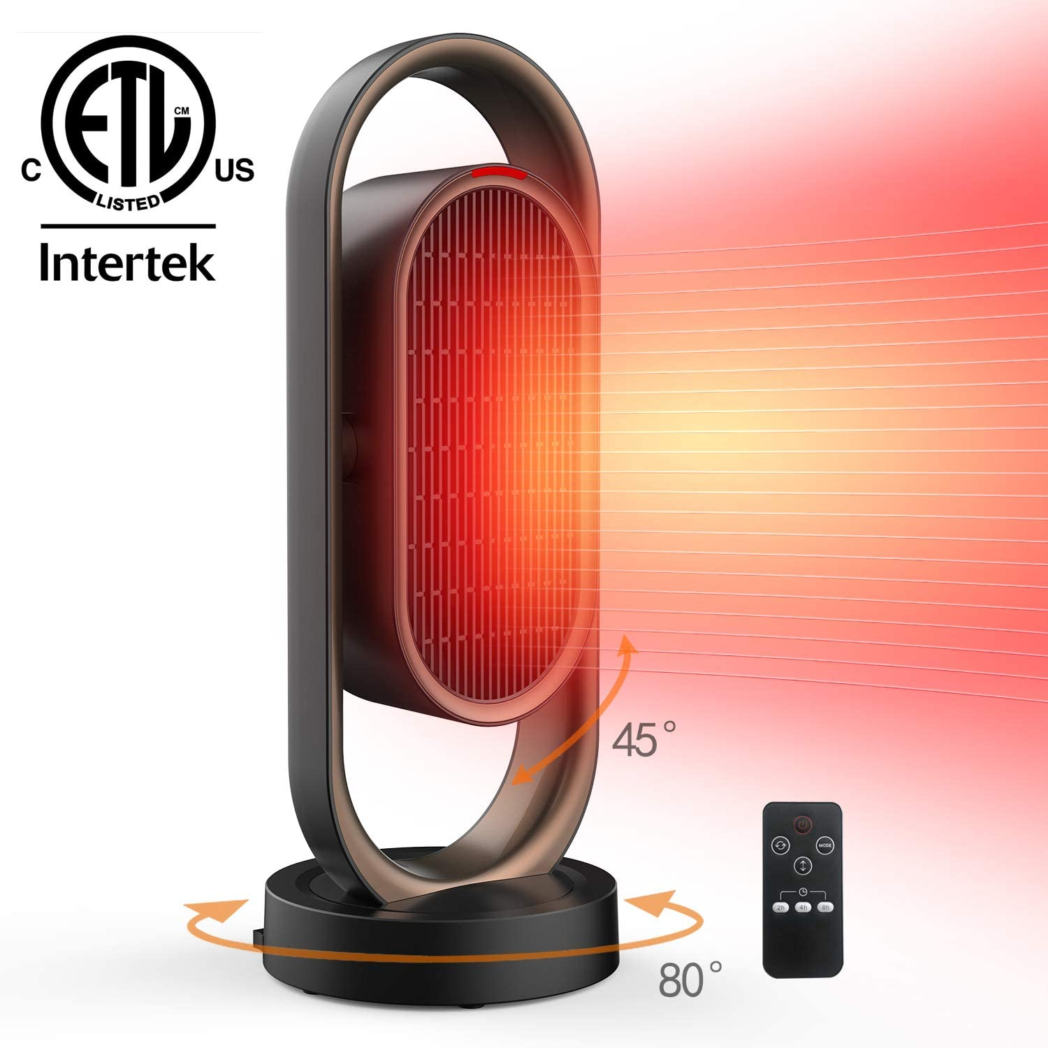 Space Heater for Home &Office - Ceramic Quiet Tower Heater 1 Seconds Heat Up Portable Small Personal Heater for Office Desk with 3 Temperature Modes,Oscillating Heater Fan for Home, Indoor Use