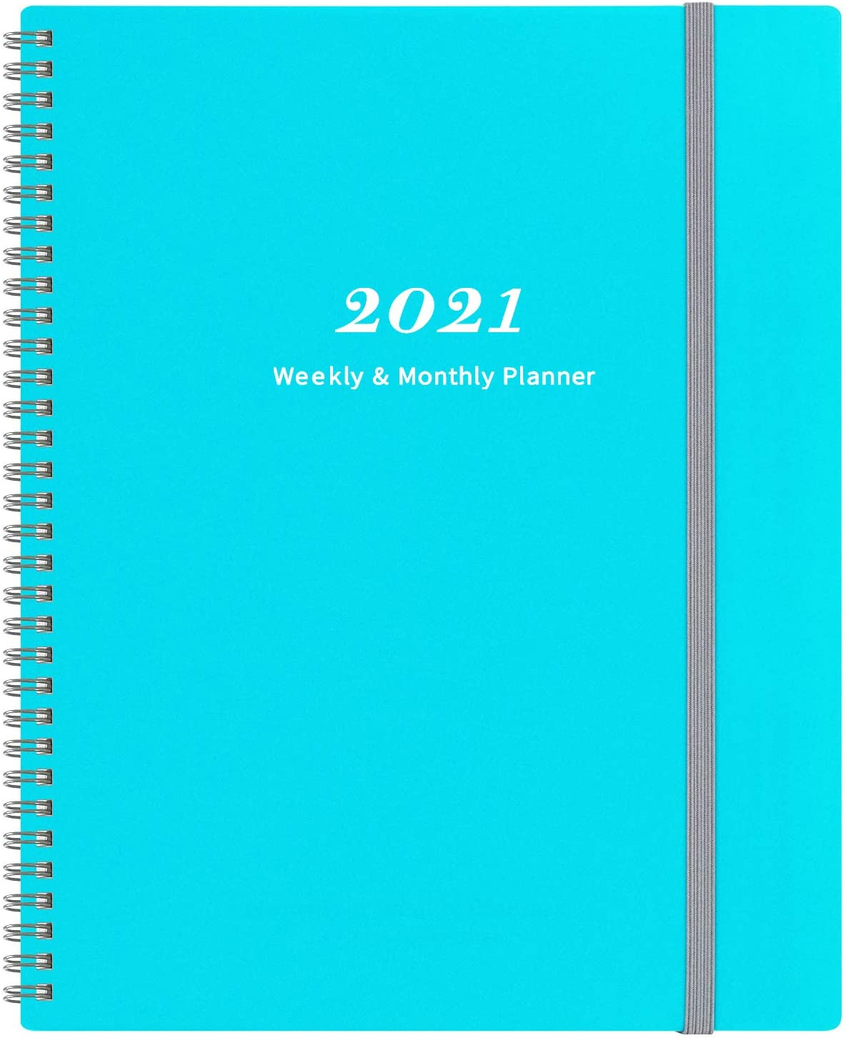 """2021 Planner - Weekly & Monthly Planner with Tabs 9"""" x 11"""", Elastic Closure and Thick Paper, Back Pocket with 21 Notes Pages"""