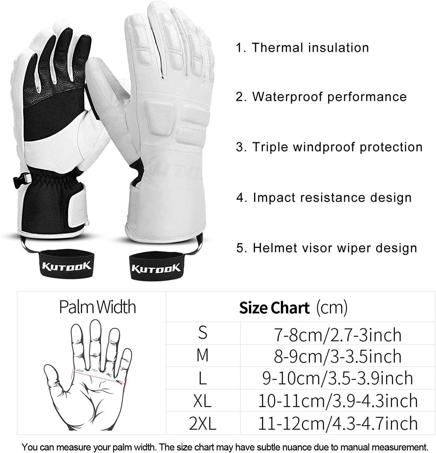 KUTOOK Snow Gloves Men with HIPORA Waterproof Membrane Goatskin Palm 3m Thinsulate