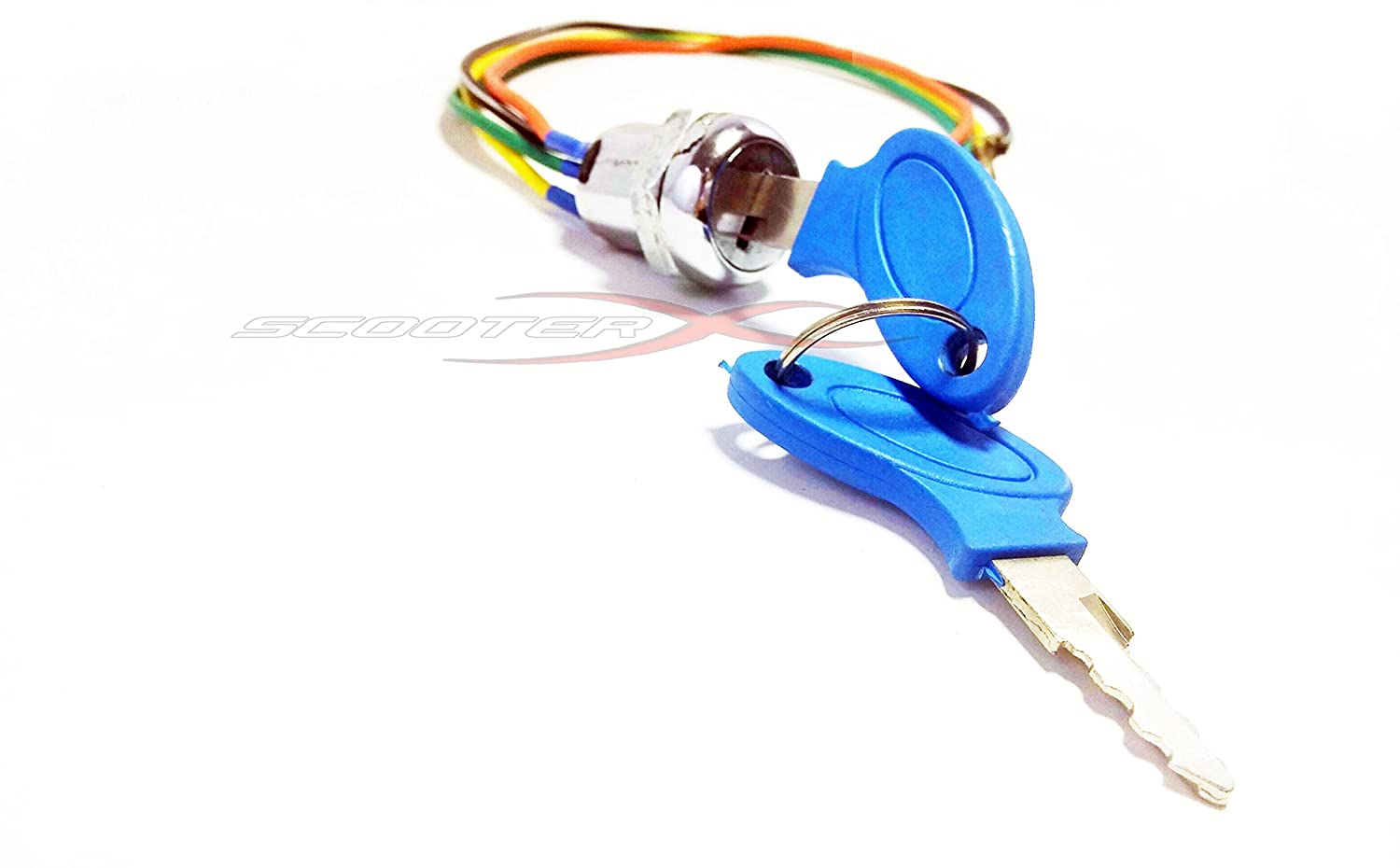 Scooterx 4 Wire Ignition Switch Key Fits Many Gas And Cool Sport Chopper Pocket Bike Wiring Diagram Electric Scooters Go Karts Bikes More Sports Scooter Wheels