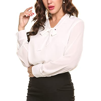 Adidome Women's Casual Chiffon Tie-Bow Neck Long Sleeve Solid Blouse Tops S-XXL