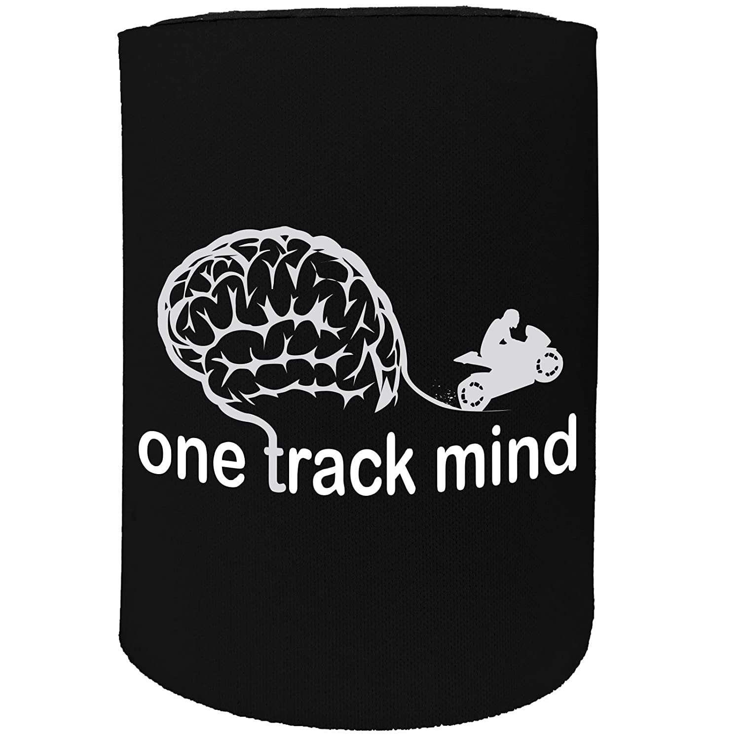 123t Stubby Holder - One Track Mind Motorbike - Funny Novelty Birthday Gift Joke Beer Can Bottle Coolie Koozie Stubbie