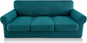 FAHUA 4 Piece High Stretch Couch Covers for 3 Cushion Couch Soft Sofa Cover with Separate Cushion Cover Form Fit Sofa Slipcover Furniture Protector Machine Washable (Large, Blackish Green)