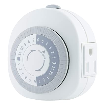 ge 24 hour heavy duty indoor plug in mechanical timer, 1 grounded