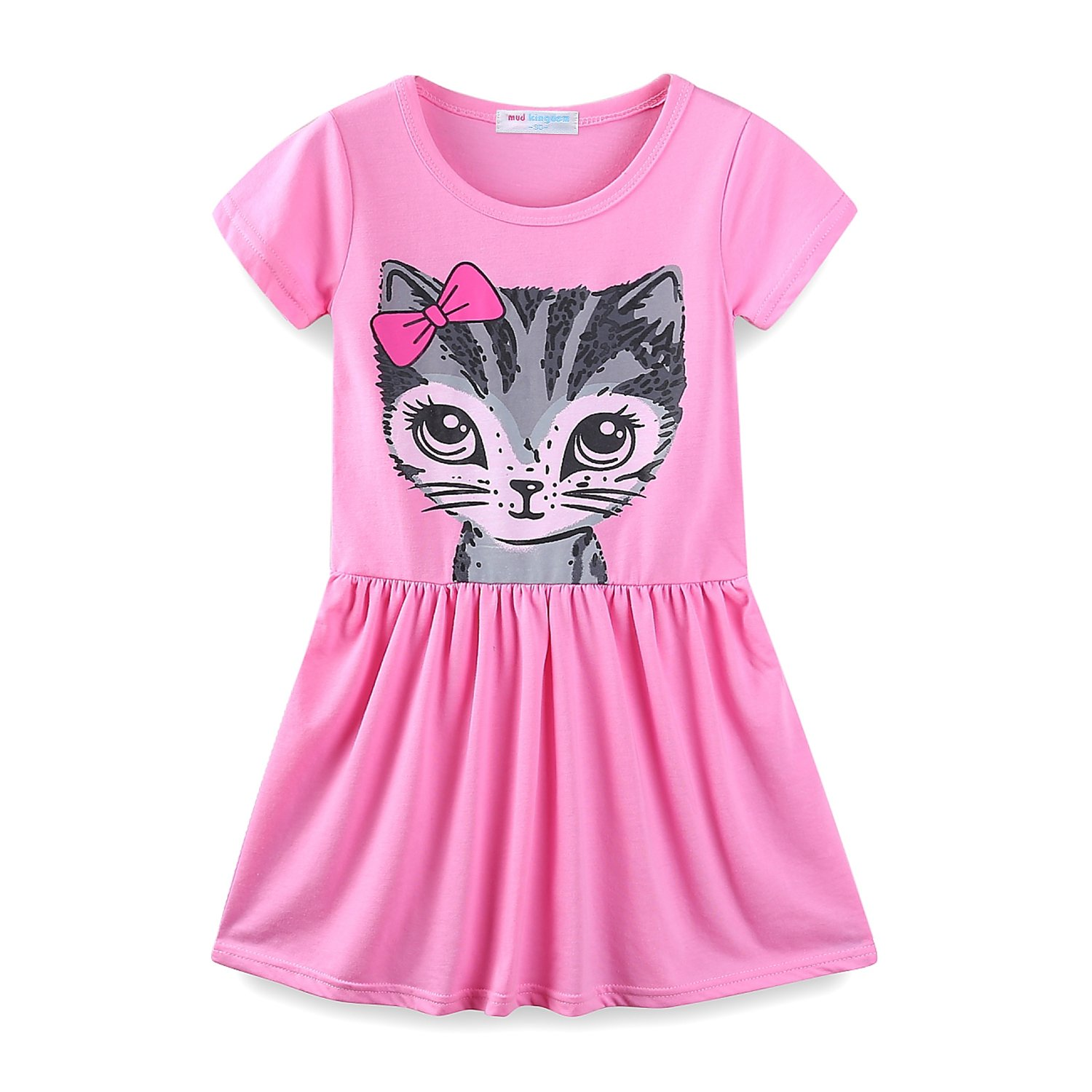 Mud Kingdom Little Girls Dresses Summer Clothes Kitten Z-Q0218