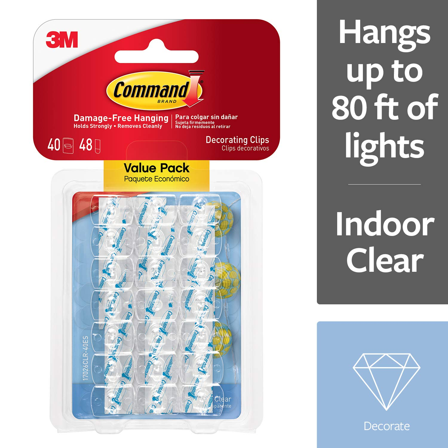 Command 17026CLR VP 3M Decorating Clips Clear 40
