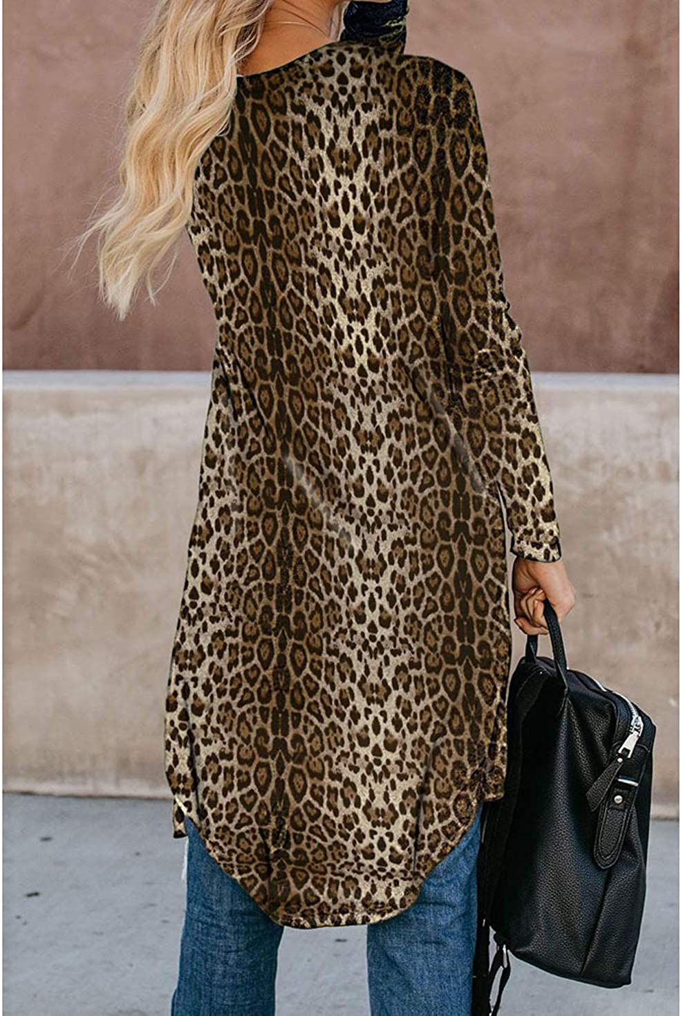 EISHOW Women Casual Loose Cardigan Tops Leopard Print Long Sleeve Outwear Open Front Trench Camouflage Cardigans Coats