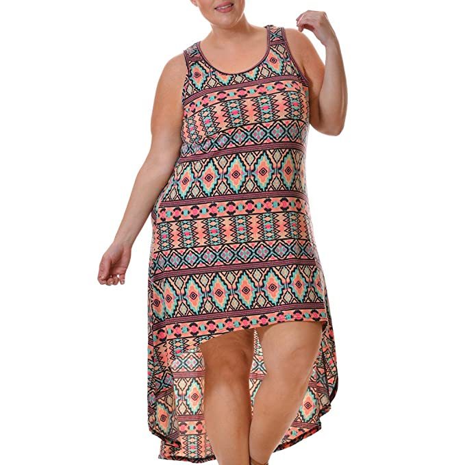 Love Collection Hi-Low Tank Dress for Women, Plus Size, Aztec Print