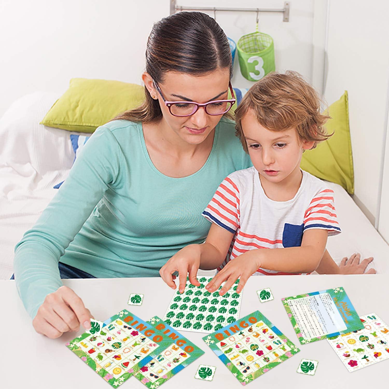 WATINC 41pcs Hawaiian Jeux de Bingo Kit Summer Bingo Game avec 24 Joueurs Lactivit/é de Fournitures de F/ête en Classe Jeux de Soci/ét/é Les Cadeaux Party Games pour Enfant Adulte Cartes de Bingo