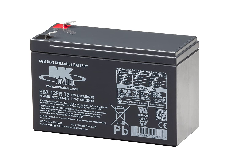 MK Battery ES7-12FR T2 Maintenance-Free Rechargeable Flame Retardant Sealed Lead-Acid Battery