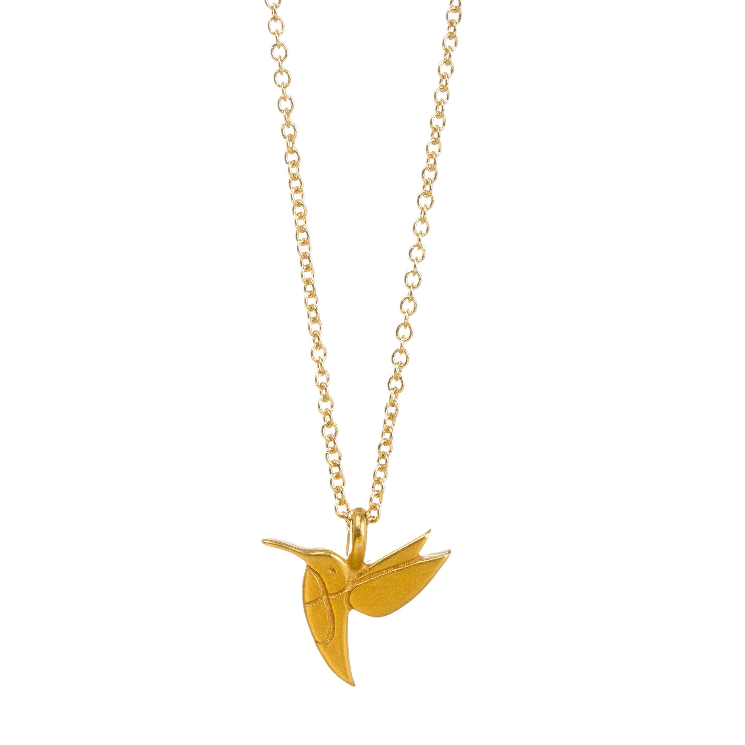 Dogeared Life Is Beautiful Sweet Hummingbird Gold Dipped Wish 16''-18'' Necklace