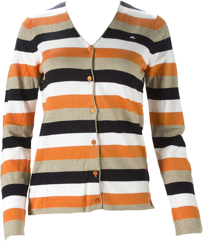 LINDEBERG Womens Lima Striped Fine Cardigan J