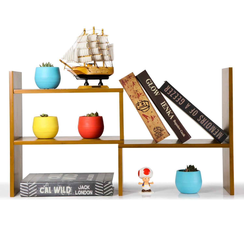 NIUBEE Adjustable Natural Bamboo Desktop Bookshelf Countertop Bookcase,Desk Book Storage Organizer Display Shelf Rack(Natural Bamboo) by NIUBEE
