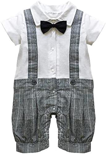 Baby Boy Formal Wedding 1pc Short Outfit with Bow Tie