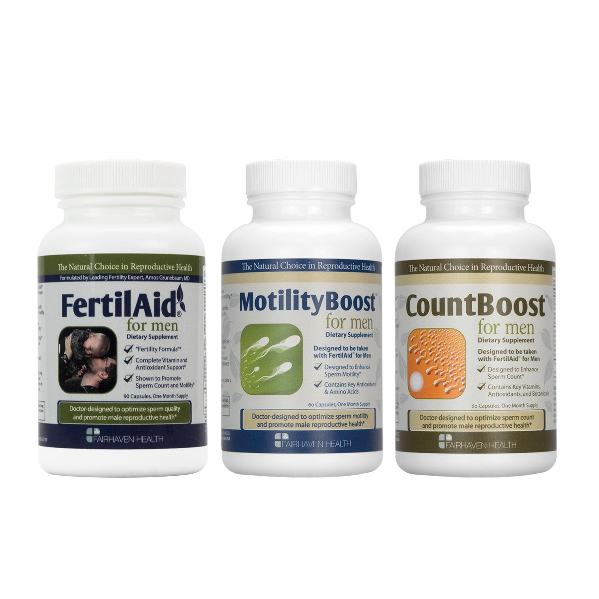 FertilAid for Men, MotilityBoost, Countboost Bundle (1 Month Supply) by Fairhaven Health
