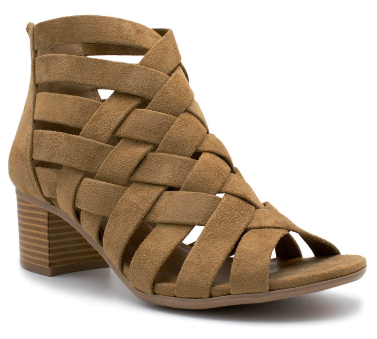 MVE Shoes Dress Sandal Chunky Heel Over Toe & Ankle Wrap Tie Front Strap Natural 8