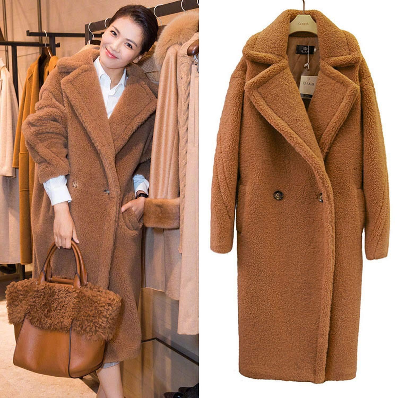 Brown Welcometoo 2019 Winter Thick Warm Long Teddy Trench Coat Women Lamb fur Wool Loose Fluffy Jacket fur Coat