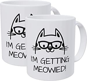 Willcallyou Pack of 2 Cat I'm Getting Married Meowied 11 Ounces Funny White Coffee Mug