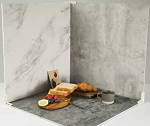 3 PCS Boards Photo Backdrop for Flat Lay, Food Photography Background 24x24 Inch, BEIYANG (Marble+Light Gray+Gray Dark)