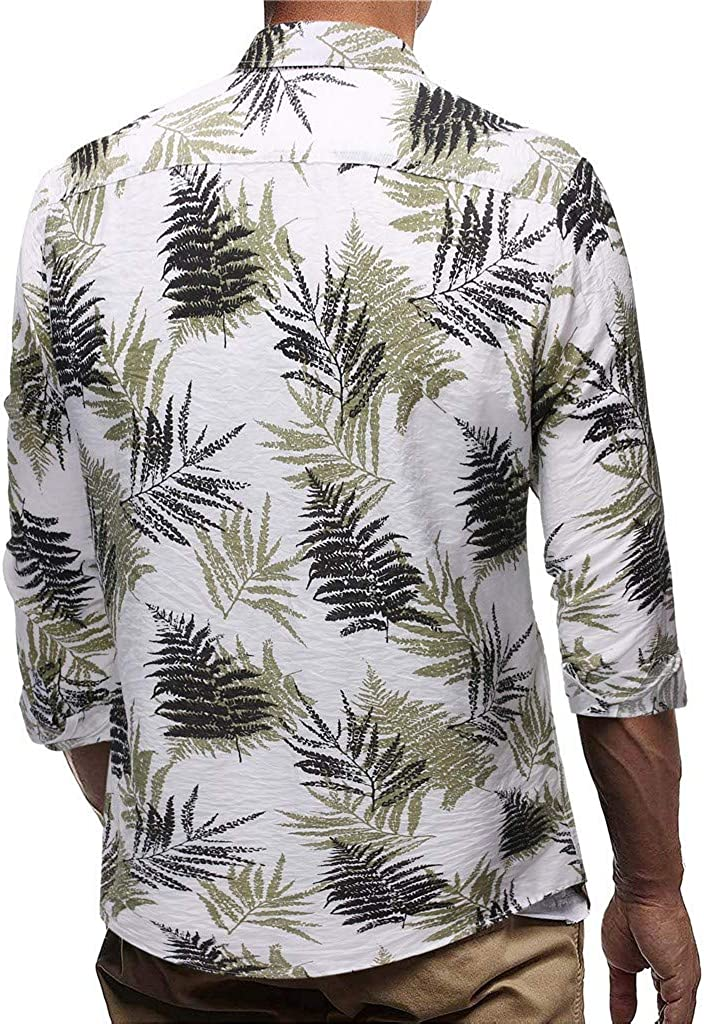 Fashion Hawaiian Print Shirt Beautyfine Mens Casual Button Beach Short Sleeve Quick Dry Top Blouse
