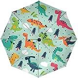 baihuishop Funny dinosaurios dibujos animados resistente al viento lluvia paraguas Auto abierto cerca 3 plegable resistente