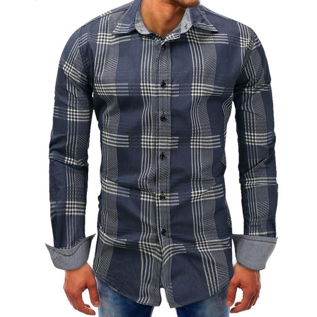 Resplend Hombres Lattice Denim Botón de Manga Larga Beefy Basic Blusa sólida Camiseta Top: Amazon.es: Ropa y accesorios